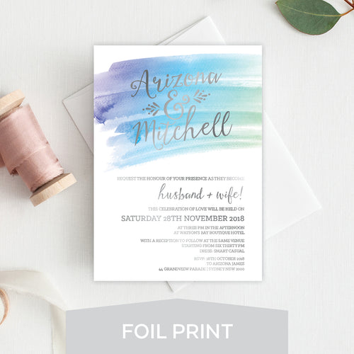 Watercolour Love Foil Invitation