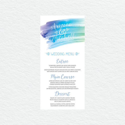 Watercolour Love Menu