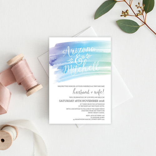 Watercolour Love Rectangle Invitation