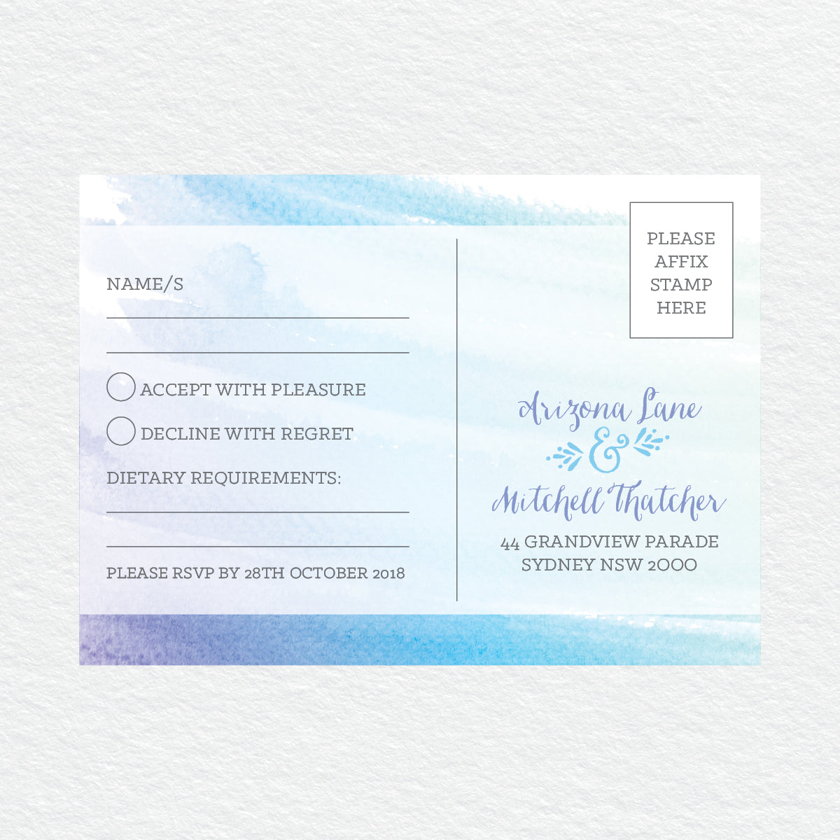 Watercolour Love RSVP Card