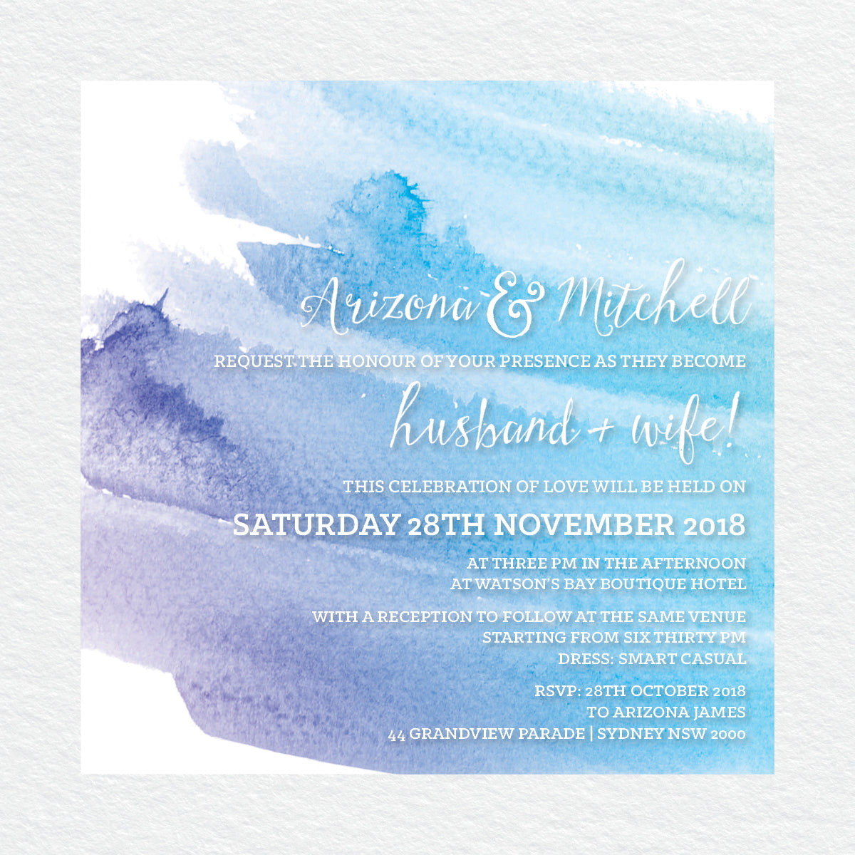 Watercolour Love Square Invitation