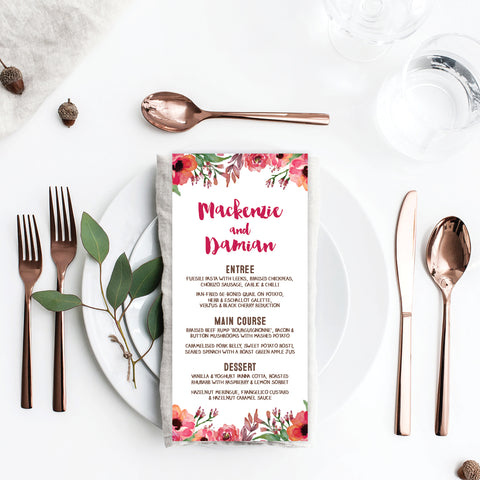 Confetti Party Menu