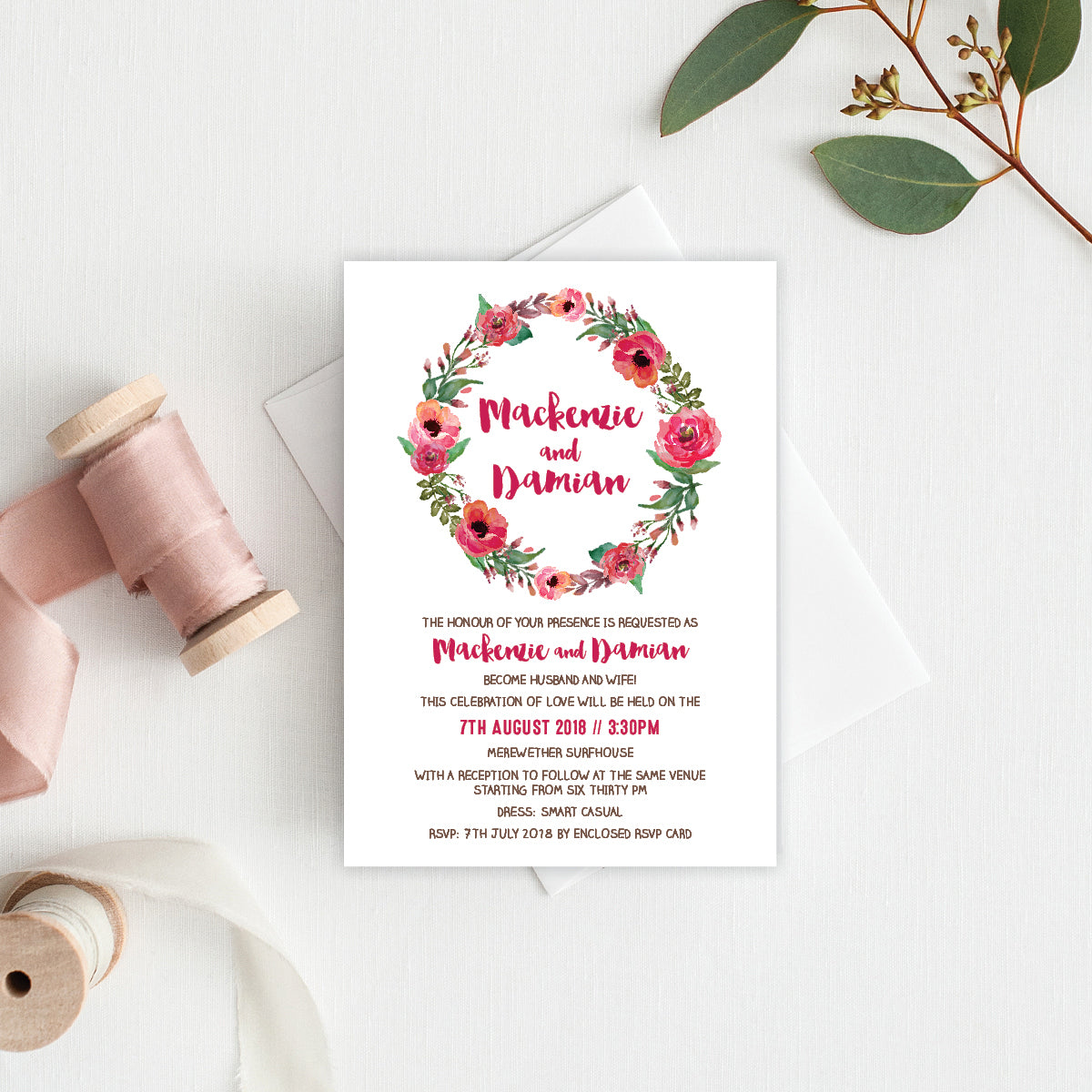 Winter Wreath Rectangle Invitation
