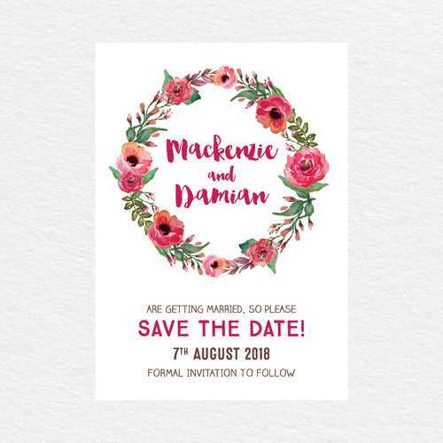 Winter Wreath Save the Date Card