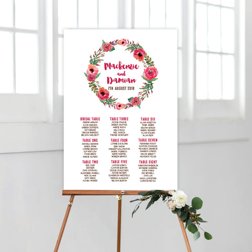 Winter Wreath Seating Chart