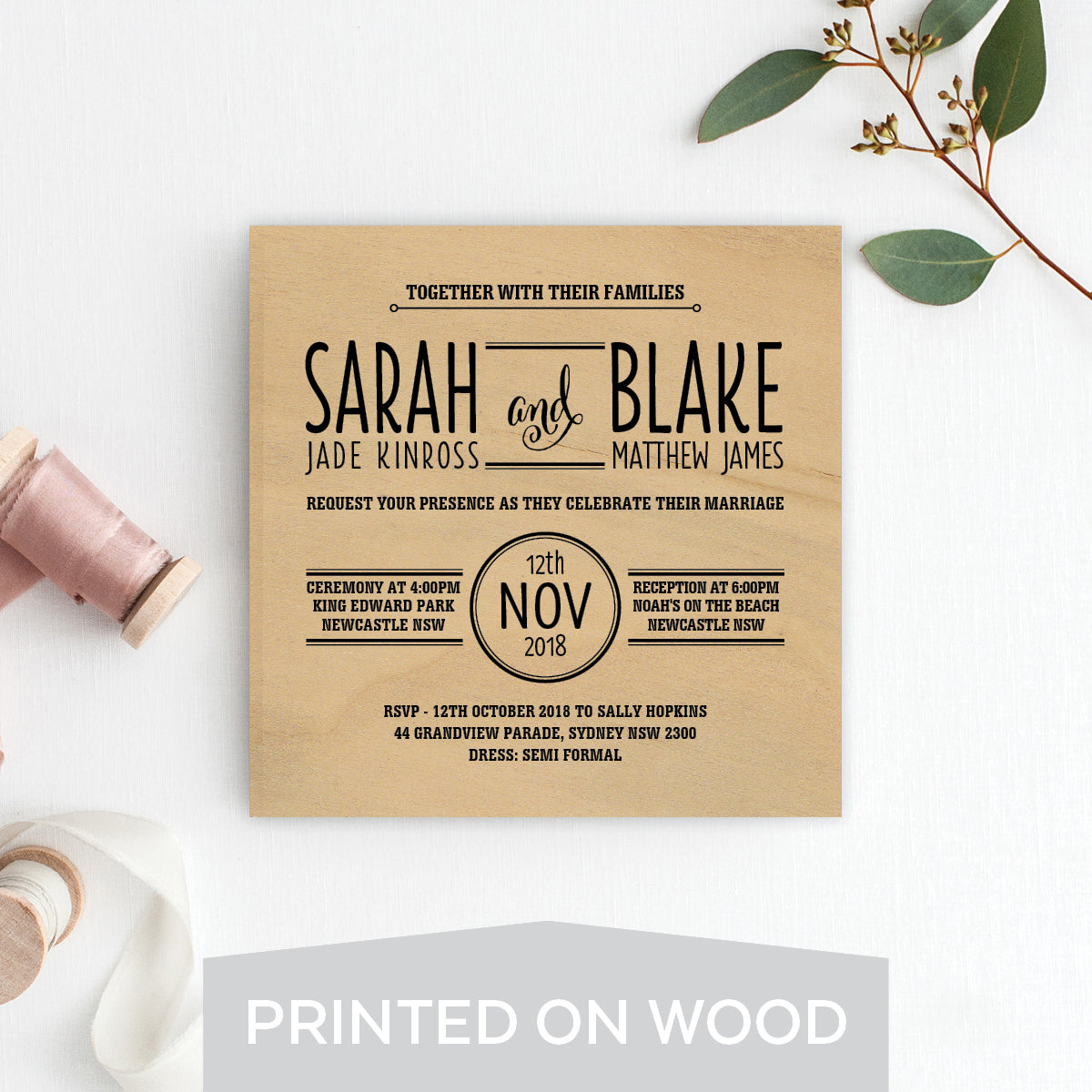 Simplistic Type Wood Invitation