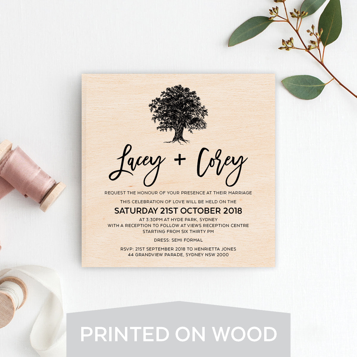 Under the Old Oak Tree Wood Invitation