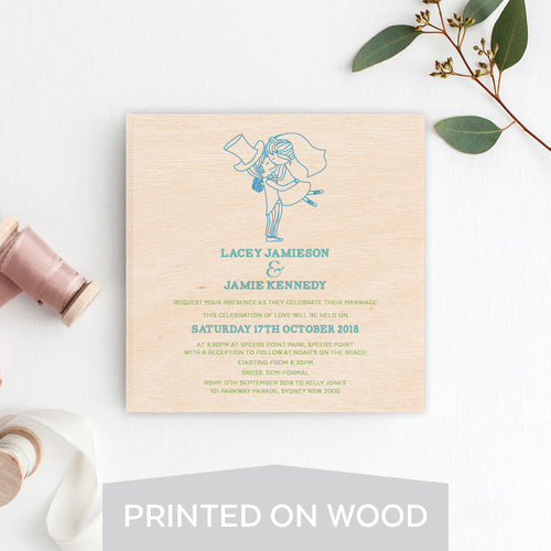 Seal of Love Wood Invitation