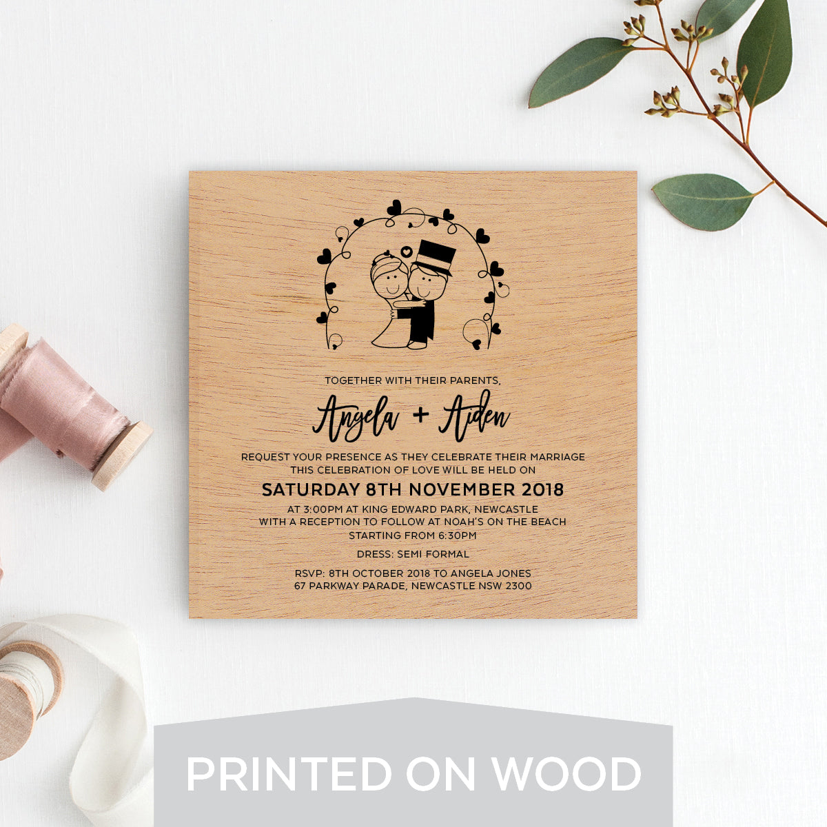 Cute Couple Wood Invitation
