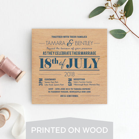 Botanical Wreath Wood Invitation