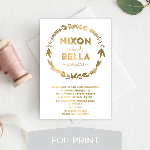 Rustic Wreath Foil Invitation