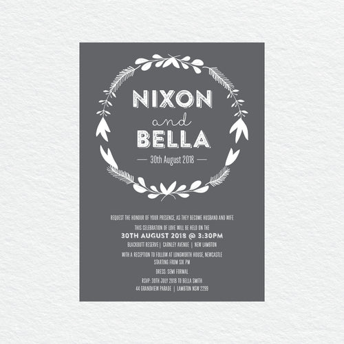 Woodland Whimsy White Ink Invitation