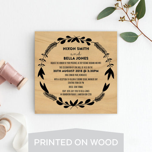 Woodland Whimsy Wood Invitation