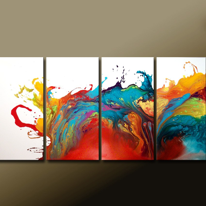 Custom made to order abstract canvas art huge 4pc 72x36 for Abstract canvas ideas
