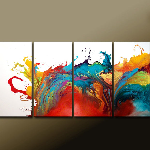 Custom MADE TO ORDER - Abstract Canvas Art Huge 4pc 72x36 Commissioned Fine Art Painting by Destiny Womack - dWo