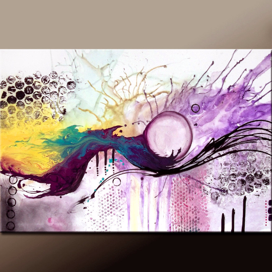 Custom MADE TO ORDER - Abstract Canvas Art Huge 36x24 Commissioned Fine Art Painting by Destiny Womack - dWo