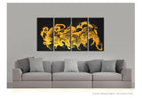 Gold and Black Abstract Canvas Art Painting 72x36 4pc Contemporary Original by Destiny Womack - dWo - Enlightened