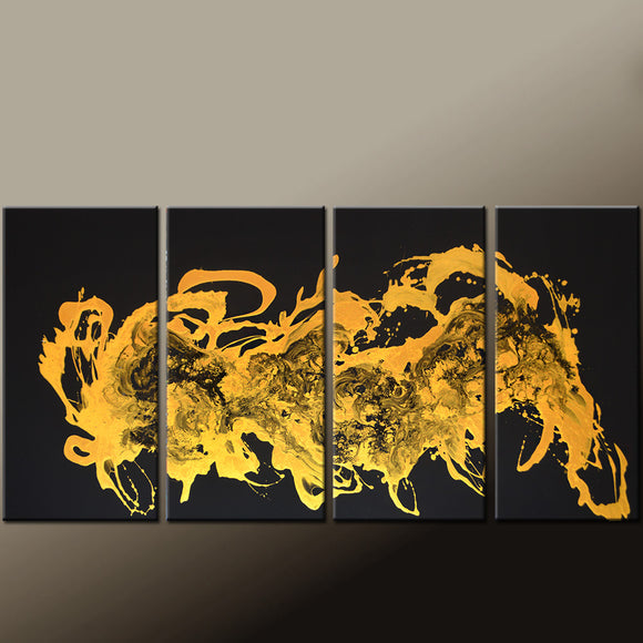 Gold and Black Abstract Canvas Art Painting 72x36 4pc Contemporary Original by Destiny Womack - dWo - …