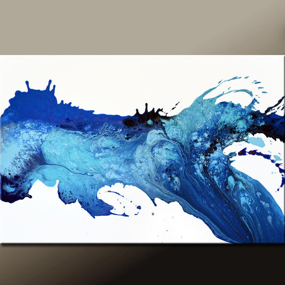 Blue Abstract Canvas Painting by Destiny Womack