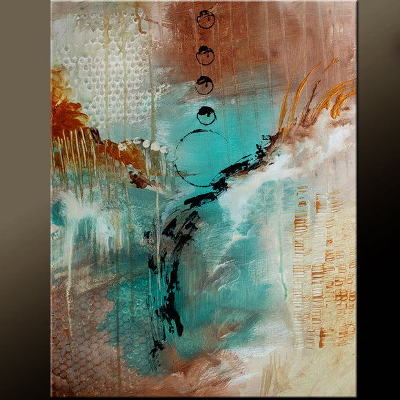 Brown and Turquoise Abstract Painting
