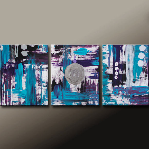 Abstract Canvas Art Painting 48x20 3pc Contemporary Original by Destiny Womack - dWo - Random Thoughts