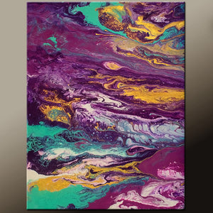 Abstract Canvas Art Contemporary Painting 12x16 by Destiny Womack - dWo - Sea of Tranquility