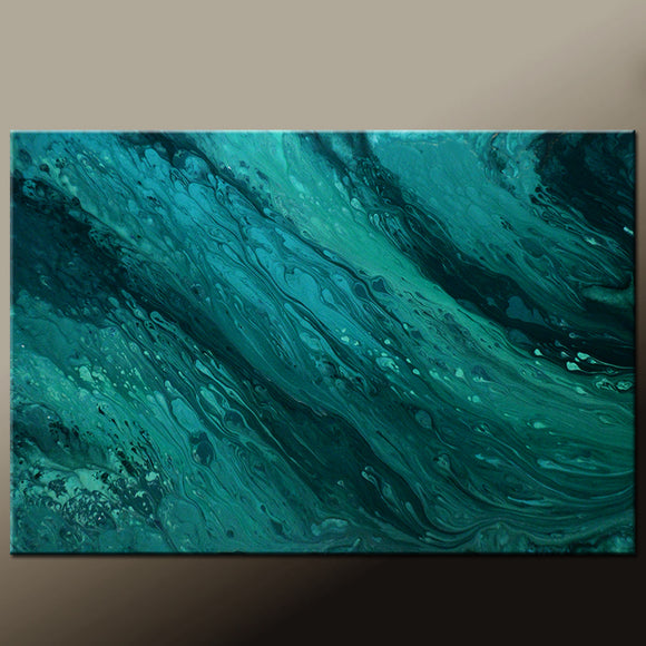 Teal & Black Abstract Canvas Art Painting by Destiny Womack