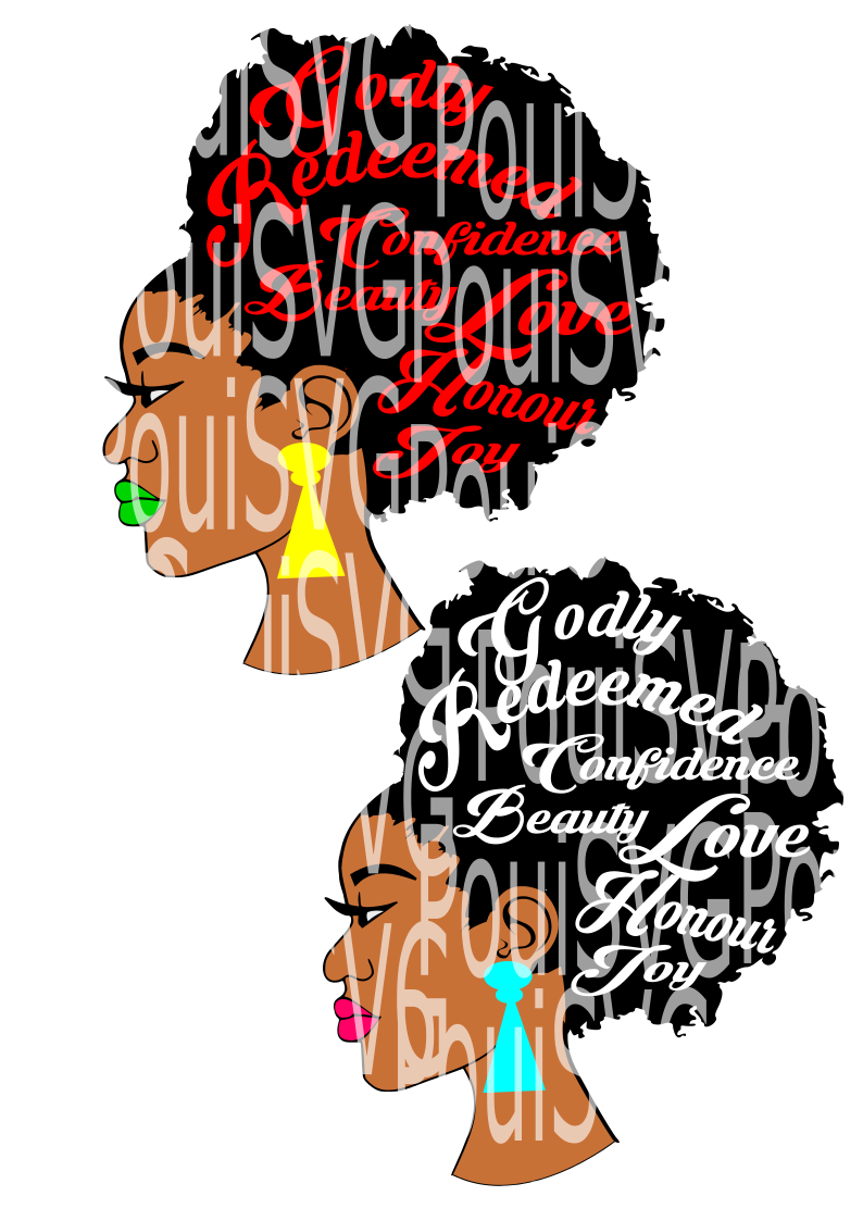 Afro svg,Afro lady svg,Silhouette Cameo cutting file, African American,Black women,Beauty, Words in hair svg