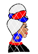 4th of July Headwrap svg,Black Woman in headwrap svg, PNG file,DXF file, Afro svg,Ayesa, USA flag