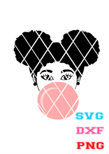 Afro girl blowing gum,Elsa SVG, PNG file,DXF file