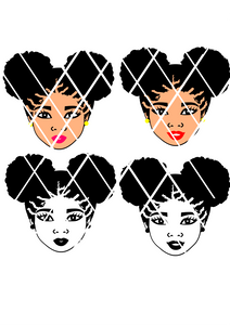 Afro Puffs SVG,Afro girl Small puffs,Afro Hair ,Elsa svg file,