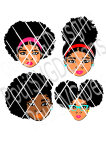 Afro Puff SVG bundle,Silhouette svg,African merican,Afro Girls,