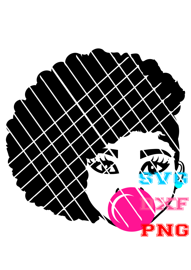 Hilda  Blowing Bubble Svg, Pony puff svg,Afro girl puffs