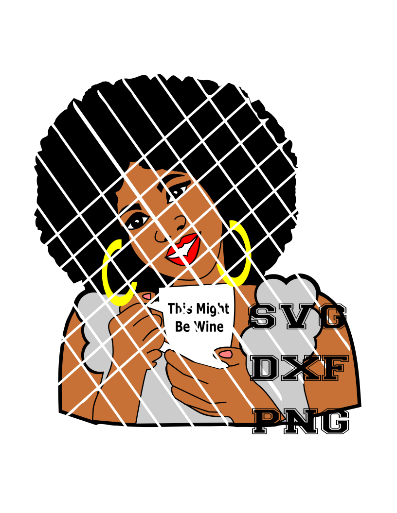 Afro WOman with coffee mug SVG,PNG,DXF files