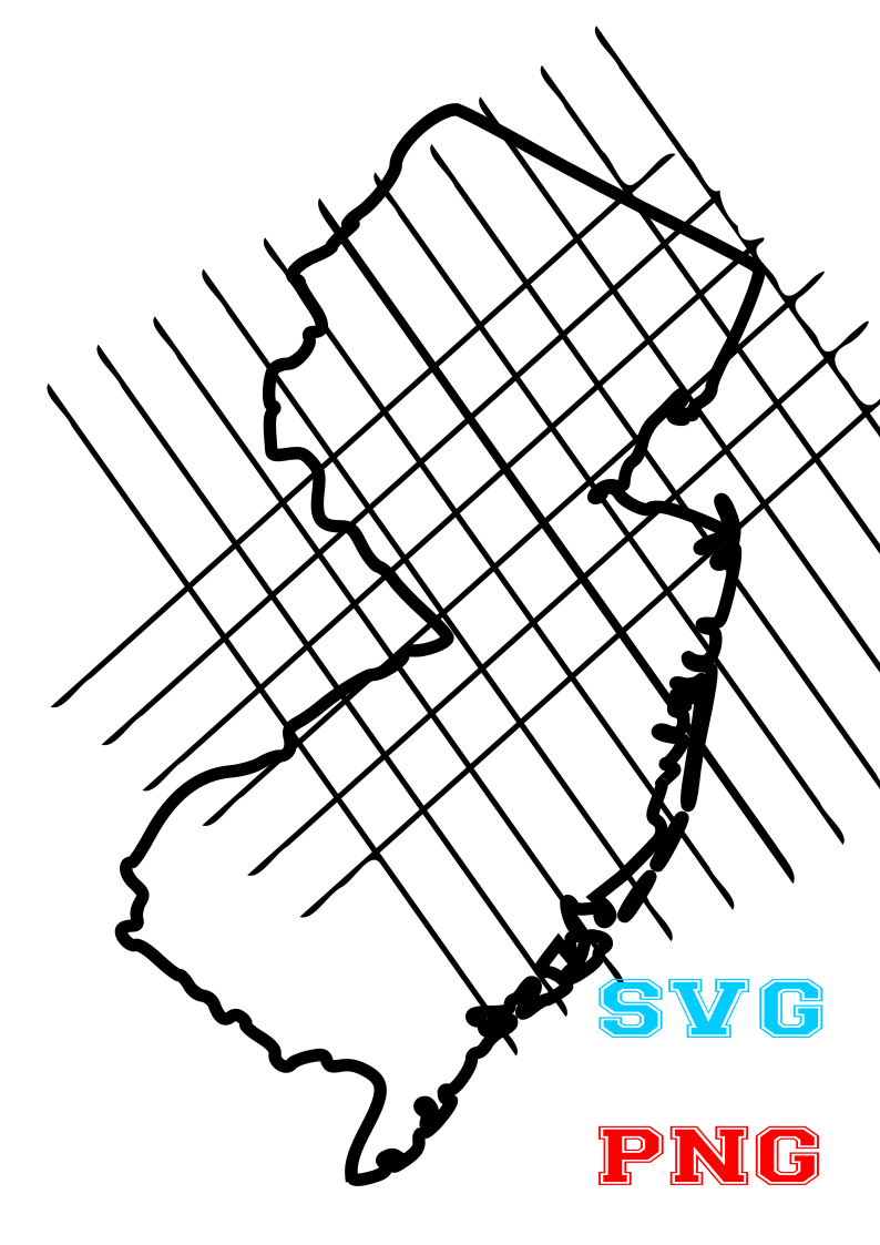 New Jersey Map, lines svg,file svg