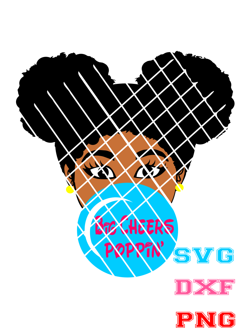 Afro girl blowing gum  with words,Elsa SVG, PNG file,DXF file