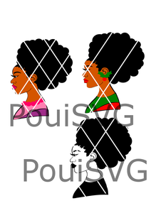 Afro Lady svg,Afro puffs svg,Afro Santa Lady, Christmas ,Silhouette svg