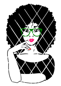 Sarah with finger on the lips svg cut file,  Black woman svg, DXF,PNG files