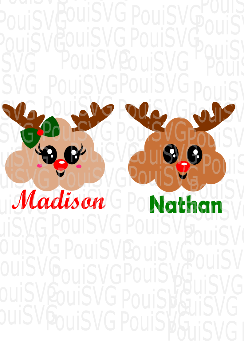 Christmas Deer Cloud svg