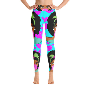 Leggings for Women,Afro Girl Yoga Leggings, Black Girl Magic Leggings, Stretch Pants, Raised waistband Yoga Leggings