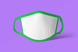 20 Adult Sublimation Face Covers - GREEN TRIM