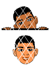 Peeking SVG, African American boy svg,Kai svg, Little boy face svg, Nathan