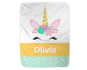 "Personalized Unicorn Blanket,  Gold Fleece Blanket Medium Sized 30"" x 40"""
