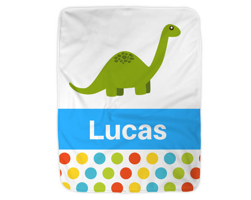 Personalized Dinosaur Blanket,  Blue
