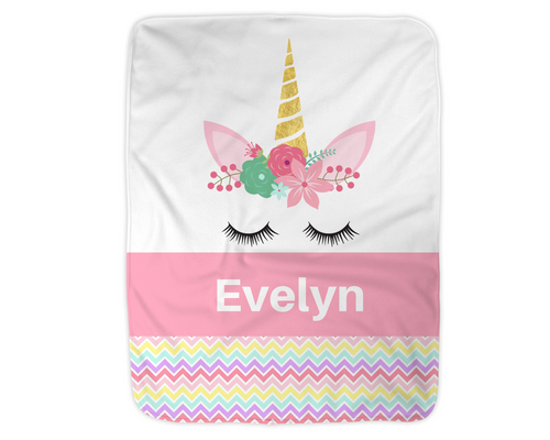 Personalized Unicorn Blanket,  Pink Fleece Blanket Medium Sized 30