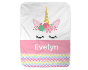 "Personalized Unicorn Blanket,  Pink Fleece Blanket Medium Sized 30"" x 40"""