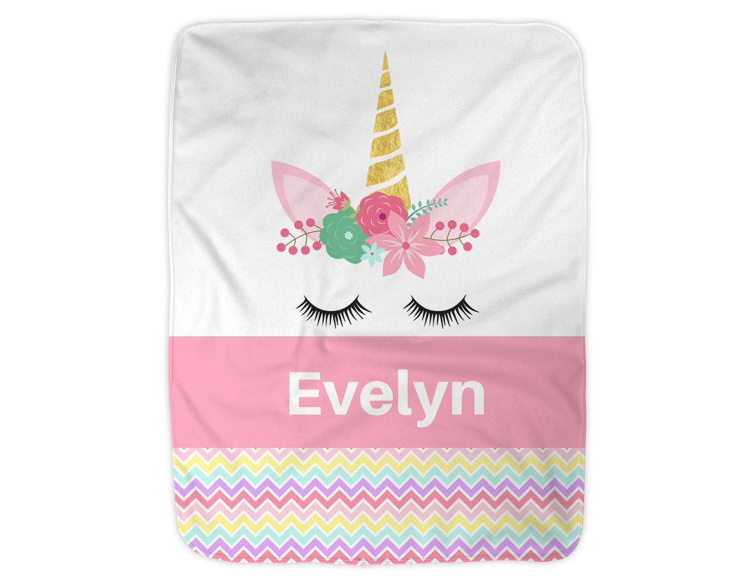 Personalized Unicorn Blanket,  Pink