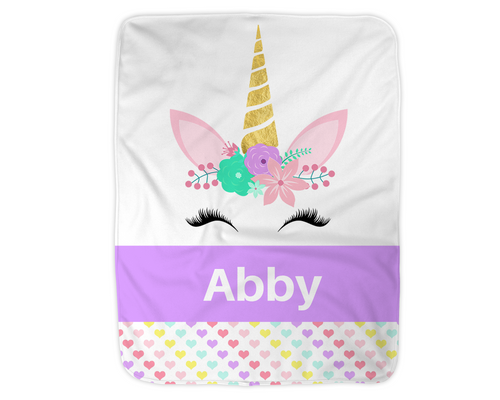 Personalized Unicorn Blanket,  Purple Fleece Blanket Medium Sized 30