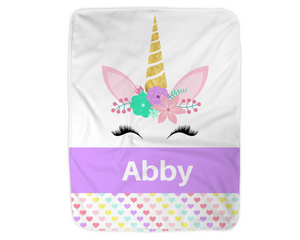 "Personalized Unicorn Blanket,  Purple Fleece Blanket Medium Sized 30"" x 40"""