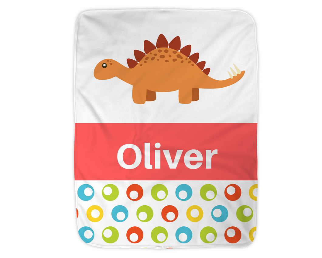 Personalized Dinosaur Blanket,  Red